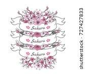 flower ribbon of sakura.... | Shutterstock .eps vector #727427833