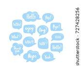 trendy blue speech bubbles set... | Shutterstock .eps vector #727428256