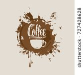 vector banner with cup of hot... | Shutterstock .eps vector #727428628