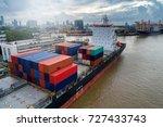 container ship in import export ...   Shutterstock . vector #727433743