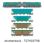 flat  railway locomotive and... | Shutterstock . vector #727433758
