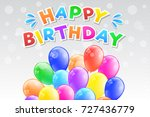 happy birthday   card with... | Shutterstock .eps vector #727436779