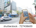 hand using smart phone... | Shutterstock . vector #727438600