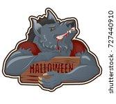werewolf character with wooden...   Shutterstock .eps vector #727440910
