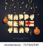 vector 2018 happy new year... | Shutterstock .eps vector #727442539