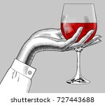 woman's hand holding a glass... | Shutterstock .eps vector #727443688