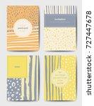 set of art postcards  modern... | Shutterstock .eps vector #727447678
