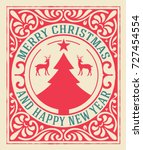 old christmas card | Shutterstock .eps vector #727454554