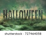 letters of stone in the swamp ...   Shutterstock . vector #727464058
