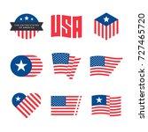 american flag vector emblems ... | Shutterstock .eps vector #727465720