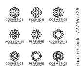 flower logo templates in trendy ... | Shutterstock .eps vector #727465729