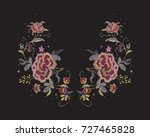 embroidery floral neckline... | Shutterstock .eps vector #727465828