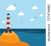 lighthouse near the water on... | Shutterstock .eps vector #727476880