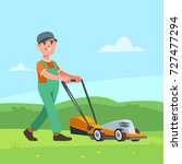 vector illustration gardener... | Shutterstock .eps vector #727477294