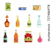 canned goods vector set | Shutterstock .eps vector #727486978
