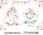 Stock photo isolated cute watercolor unicorn clipart nursery unicorns illustration princess unicorns poster 727494388