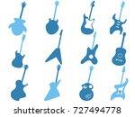 blue guitar icons set | Shutterstock .eps vector #727494778