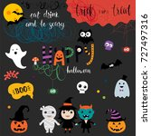 cute halloween background.... | Shutterstock .eps vector #727497316