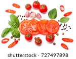 mix of slice of tomato  basil...   Shutterstock . vector #727497898