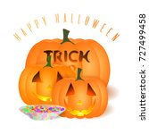 all hallows' eve  card.... | Shutterstock . vector #727499458