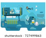 life below water concept | Shutterstock .eps vector #727499863