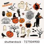 halloween characters set.  | Shutterstock . vector #727504900