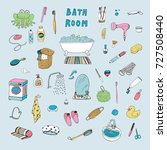 bathroom objects hand drawn... | Shutterstock . vector #727508440