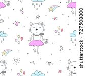 cute hand drawn cats colorful... | Shutterstock .eps vector #727508800