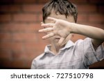 portrait one sad little boy... | Shutterstock . vector #727510798