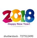 happy new year 2018 text design ... | Shutterstock .eps vector #727512490