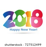 happy new year 2018 text design ... | Shutterstock .eps vector #727512499