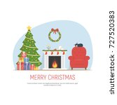 christmas decorated living room.... | Shutterstock .eps vector #727520383