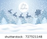christmas card with santa claus ... | Shutterstock .eps vector #727521148