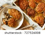 stuffed eggplant with cheese... | Shutterstock . vector #727526008