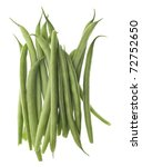 French Cut Green String Beans Isolated on White with a Clipping Path. - stock photo