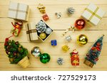 a top view of christmas... | Shutterstock . vector #727529173