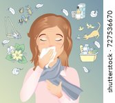 woman has an allergy  runny... | Shutterstock .eps vector #727536670