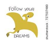 happy dinosaur. vector... | Shutterstock .eps vector #727537480