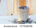 coin stacks on wooden... | Shutterstock . vector #727538398