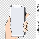 hand holds smartphone with... | Shutterstock .eps vector #727539739
