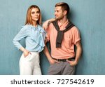 fashion girl and guy in outlet... | Shutterstock . vector #727542619
