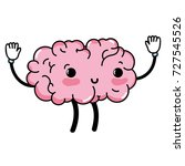 kawaii cute happy brain with... | Shutterstock .eps vector #727545526