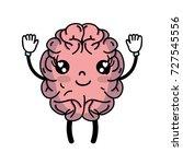 kawaii cute happy brain with... | Shutterstock .eps vector #727545556