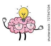 kawaii happy brain with bulb... | Shutterstock .eps vector #727547104