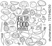 healthy food traditional doodle ... | Shutterstock .eps vector #727548250