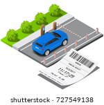 isometric parking ticket and... | Shutterstock .eps vector #727549138
