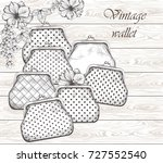 vintage handbag  clutches on... | Shutterstock .eps vector #727552540