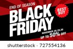 black friday sale banner layout ... | Shutterstock .eps vector #727554136