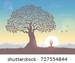 amazing silhouette woman sit in ... | Shutterstock .eps vector #727554844
