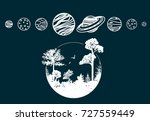 solar system planets icons....   Shutterstock .eps vector #727559449